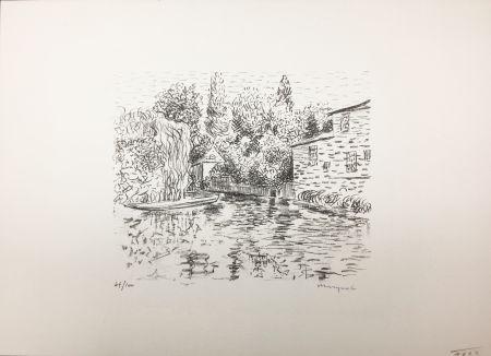 Lithographie Marquet - Bord de rivière