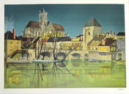Lithographie Lecoindre - Bords de riviere