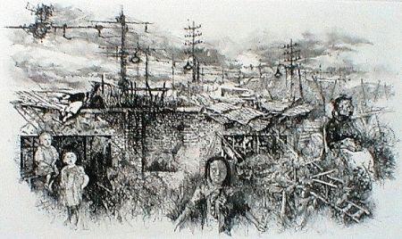 Eau-Forte Et Aquatinte Vespignani - Borgata romana