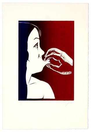 Linogravure Topor - Bouche que veux-tu ?