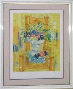 Lithographie Agostini  - Bouquet a la chaisse