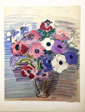 Lithographie Dufy - BOUQUET D'ANÉMONES. Lithographie par Mourlot (vers 1955).