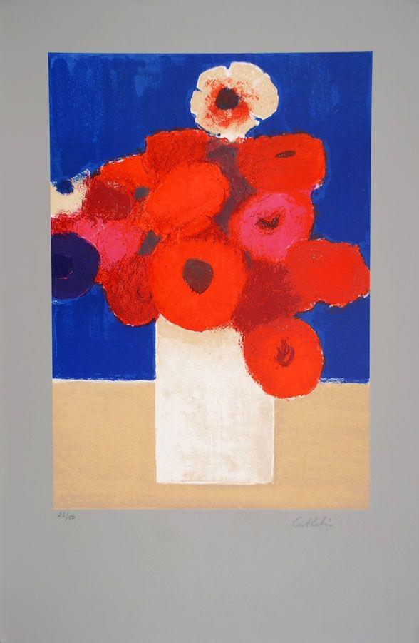 Lithographie Cathelin - Bouquet d'Anémones 2 - Bouquet of Anemones 2