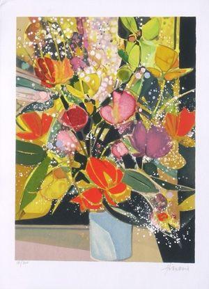 Lithographie Hilaire - Bouquet de tulipes