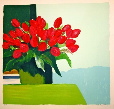Lithographie Muhl - Bouquet de tulipes rouges