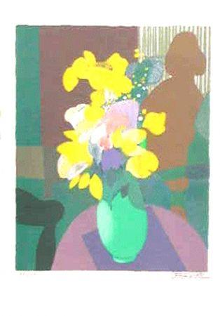Lithographie Defossez - Bouquet et ombre de femme
