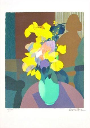 Lithographie Defossez - Bouquet Jaune