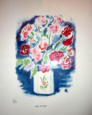 Lithographie Van Dongen - Bouquet pois de senteur