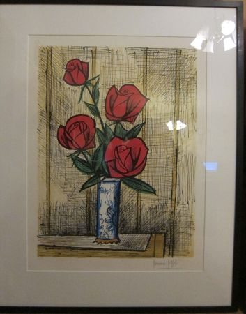 Lithographie Buffet - Bouquet Roses