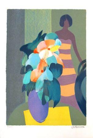 Lithographie Defossez - Bouquet Vert