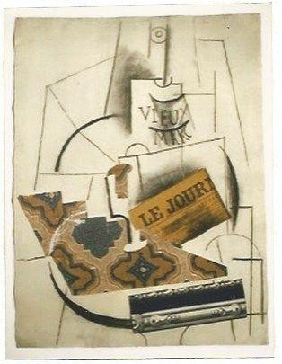 Lithographie Picasso - Bouteille de Vieux Marc