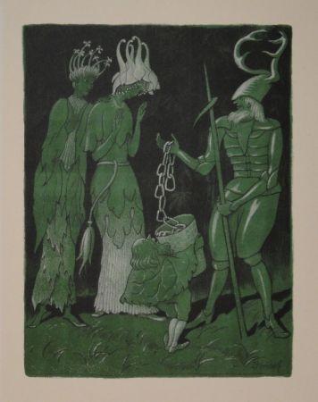 Lithographie Kreidolf - Brautwerbung. Käfer-Ritter, von einem Zwerg begleitet, wirbt mit einer Kette um das Akelei- und Rapunzel-Fräulein.