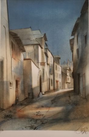 Lithographie Valadie - Brive - rue basse - Limousin
