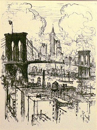 Lithographie Pennell - Brooklyn Bridge