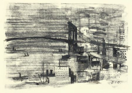 Gravure Sur Bois Schatz - Brooklyn Bridge