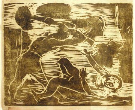 Gravure Sur Bois Corinth - Brudermord (Cain and Abel)