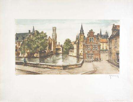 Eau-Forte Hebbelinck - Bruges : Les Ducs de Bourgogne
