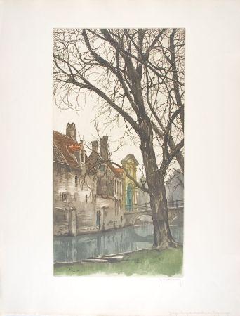 Eau-Forte Hebbelinck - Bruges : Les grands arbres du Béguinage.