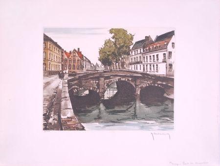 Eau-Forte Hebbelinck - Bruges : Pont des Augustins