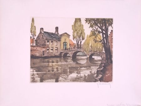Eau-Forte Hebbelinck - Bruges : Pont du Béguinage.