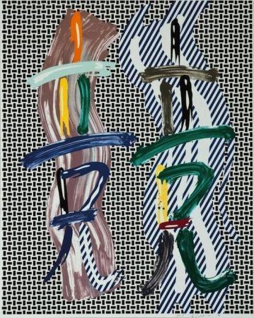 Lithographie Lichtenstein - Brushstroke Contest, from Brushstroke Figure Series