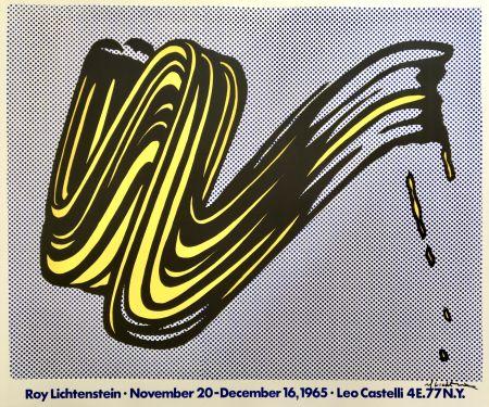 Lithographie Lichtenstein - Brushstroke Hand Signed Exhibition Poster