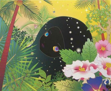 Lithographie Aoshima - Building Head - Palm Trees