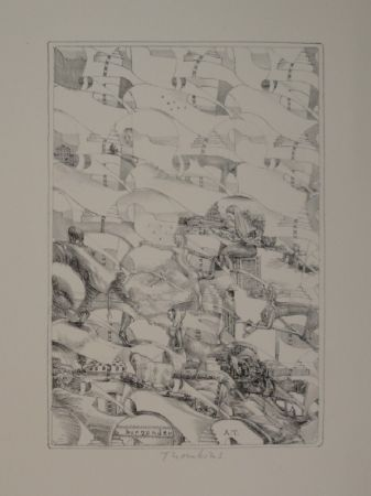 "Lithographie Thomkins - ""burgunder"""