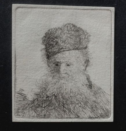 Gravure Rembrandt - Bust of an lod man with a fur cup scond state