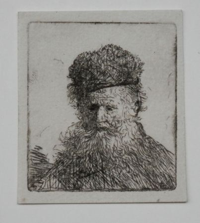 Gravure Rembrandt - Bust of an old man with a fur cap first state