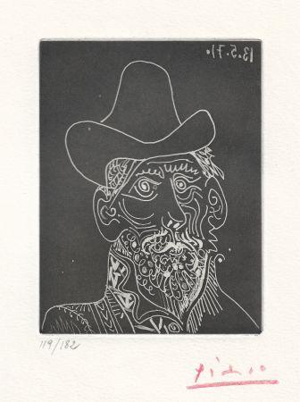 Aquatinte Picasso -  Buste d'homme barbu au chapeau