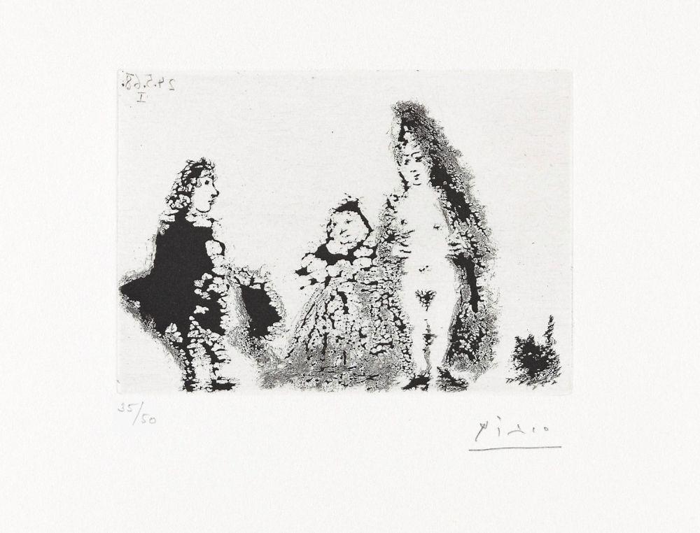 Aquatinte Picasso - CÉLESTINE ET FILLE AVEC UN CHAT ET UN JEUNE CLIENT (24 mai 1968).