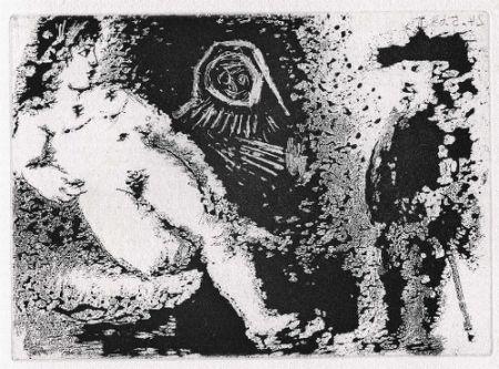 Aquatinte Picasso - Célestine, Fille et vieux client