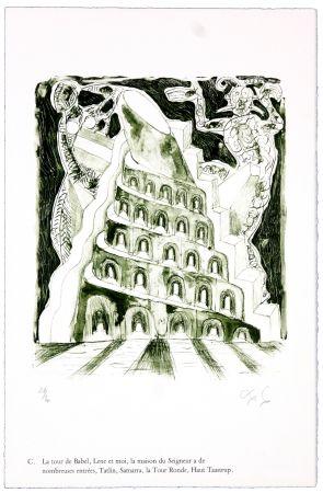 Lithographie Nørgaard - C. La tour de Babel, Lene et moi, la maison du Seigneur à de nombreuses entrées, Tatlin, Samarra, la Tour Ronde, Haut Taastrup