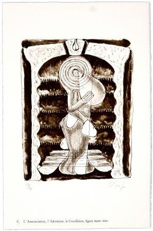 Lithographie Nørgaard - C. L'Annonciation, l'Adoration, la Crucifixion, figure mort-vive