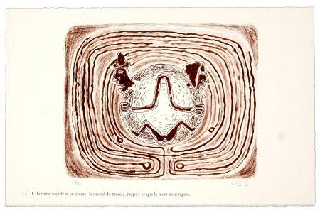 Lithographie Nørgaard - C. L'homme assoiffé et sa femme, la moitié du monde, jusqu'à ce que la mort nous sépare.