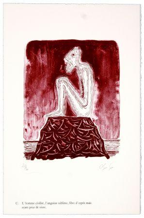 Lithographie Nørgaard - C. L'homme civilisé, l'angoisse sublime, libre d'esprit mais ayant peur de vivre