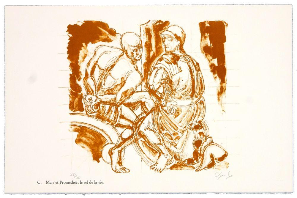 Lithographie Nørgaard - C. Mars et Prométhée.