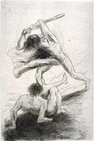 Gravure Redon - Caïn et Abel