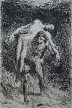 Gravure Falguière - Caïn et Abel