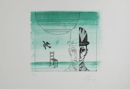 Lithographie Ponç - Cabeza, silla y pájaro