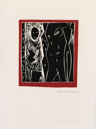 Linogravure Kuroda - Cadre rouge