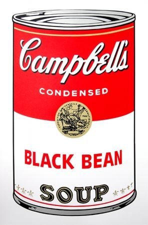 Sérigraphie Warhol (After) - Campbell's Soup - Black Bean