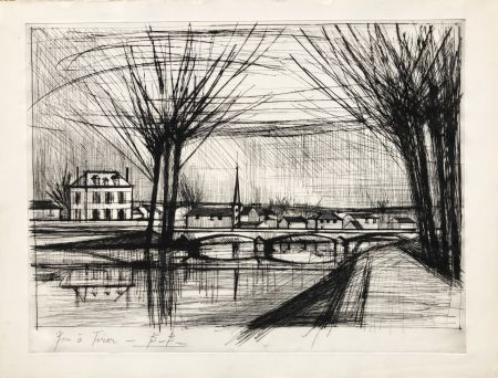 Gravure Buffet - Canal a Soissons