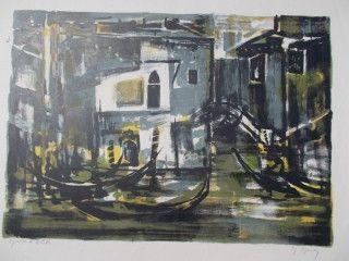 Lithographie Mouly - Canal a Venize