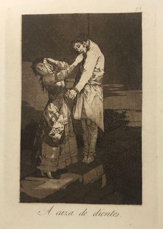 Eau-Forte Goya - Capricho 12 . A caza de los dientes