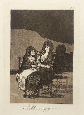 Eau-Forte Goya - Capricho 15. Bellos consejos