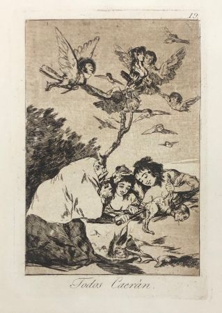 Eau-Forte Goya - Capricho 19. Todos Caerán