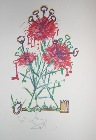 Lithographie Dali - Carnation Keys (surrealistic flowers)