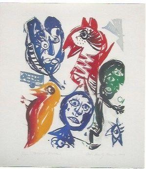 Aquatinte Pedersen - Carrousel d'oiseaux